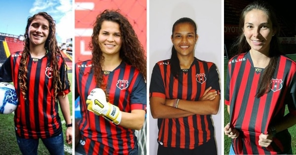 María Paula Salas, Noelia Bermúdez, Stephannie Blanco y Katherine Arroyo son las cuatro futbolistas que refuerzan al campeón nacional del fútbol femenino. Fotografías: Prensa Alajuelense