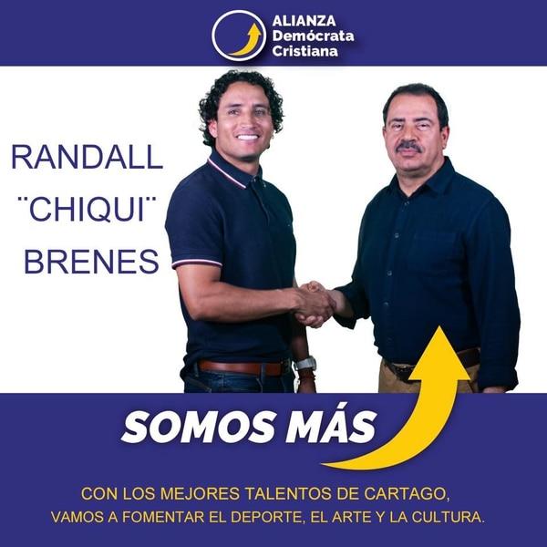 Rándall Brenes (izquierda) le dio su adhesión a Mario Redondo en el partido Alianza Demócrata Cristiana. Ahora el alcalde espera que forme parte de su proyecto para desarrollar el deporte del cantón.
