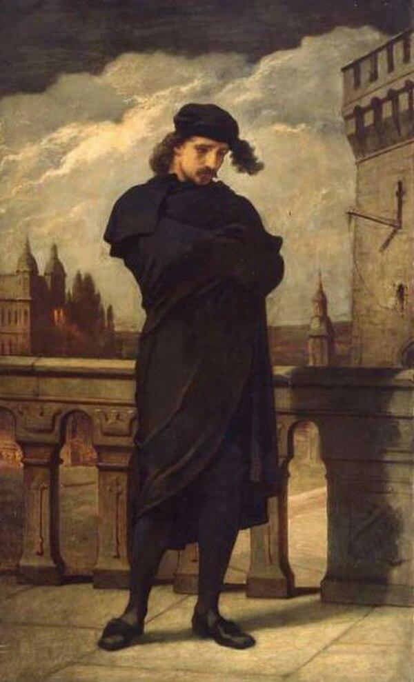 Retrato de Hamlet hecho por William Morris Hunt. La obra se pintó en 1864.