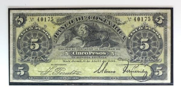 Billete emitido en 1899 por el Banco de Costa Rica, el cual muestra a un león como figura central de una de sus caras. Foto: Jose Díaz/Agencia Ojo por Ojo