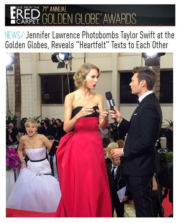 Jennifer Lawrence hizo una mueca mientras se metía en la toma de E!, que estaba entrevistando a Taylor Swift