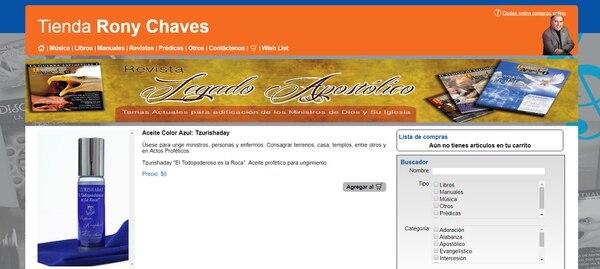 Los aceites para ungir, a $8 cada frasco, son de los productos que Rony Chaves ofrece a sus seguidores en su tienda virtual: Foto tomada de Internet.