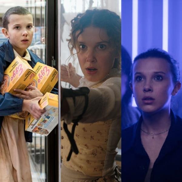 La evolución de Millie Bobby Brown la ha llevado a ser Eleven en 'Stranger Things', Enola Holmes y ahora Maddison Russell en 'Godzilla vs. Kong'. Fotos: Archivo.