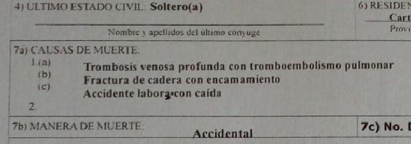 Certificado de defunción. Foto: Cortesía