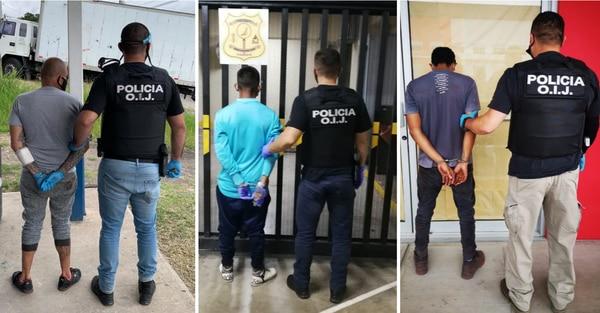 En tres diferentes provincias cayeron los sospechosos, quienes quedaron a la orden de la Fiscalía. Foto: Cortesía OIJ.