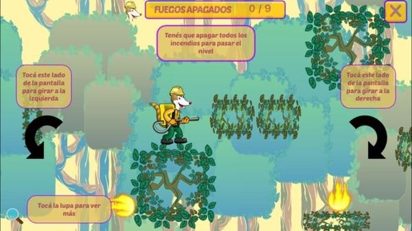 La app cuenta con dos juegos interactivos en que los niños ayudan a Toño Pizote, mascota de los bomberos forestales, a extinguir incendios ocurridos en los bosques. | CORTESÍA DE MINAE