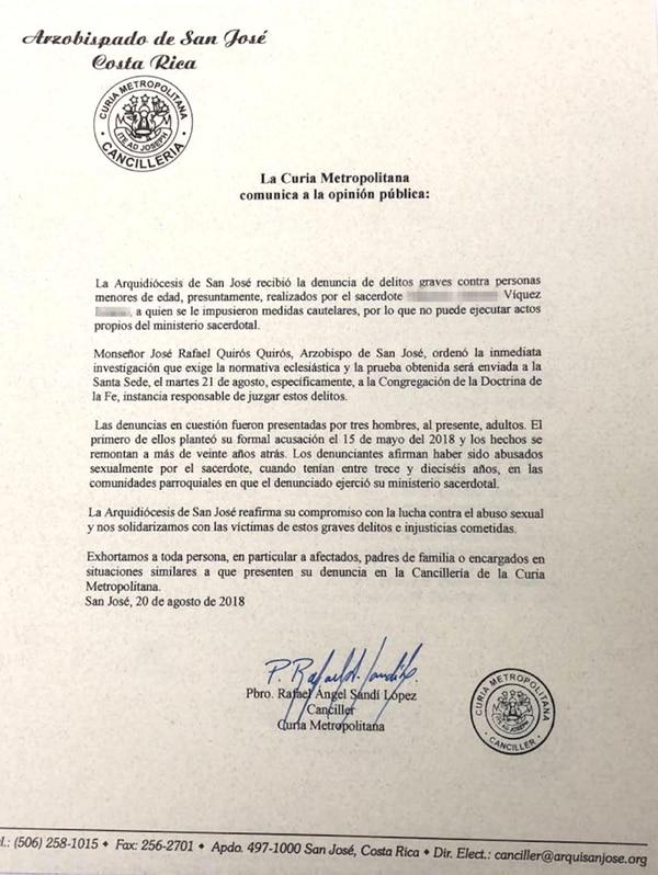La carta fue firmada por el presbítero Rafael Ángel Sandí López, canciller de la Curia Metropolitana. Reproducción La Nación