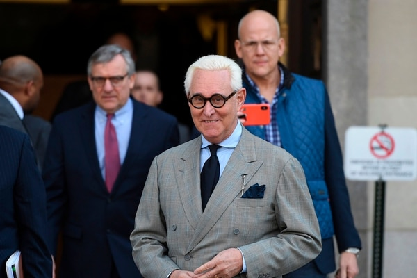 (FILES) In this file photo taken on March 14, 2019 former advisor to US President Donald Trump, Roger Stone, leaves a court hearing, in Washington DC. - US President Donald Trump communted the 40-month prison sentence of longtime ally Roger Stone on July 10, 2020, the White House said. (Photo by Andrew CABALLERO-REYNOLDS / AFP)