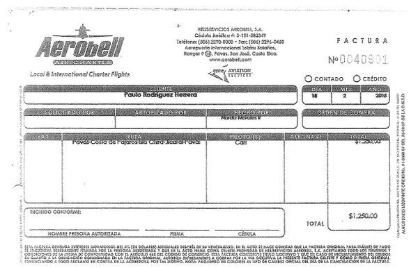 Una de las facturas aportadas por Restauración de los pagos realizados por los viajes en helicóptero.