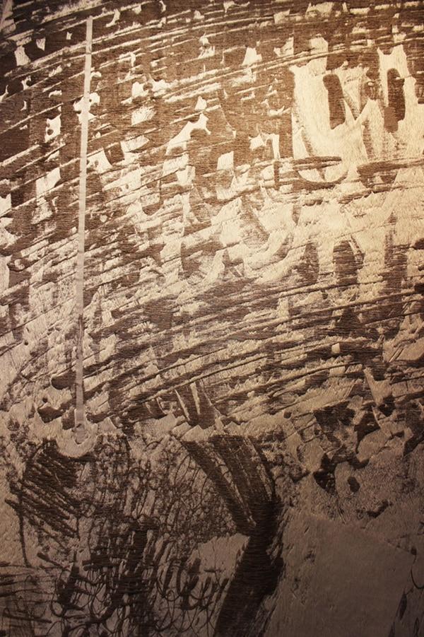 Composición con línea blanca vertical (2012), de Dorota Taranek. La obra se elaboró por medio de un telar de Jacquard.