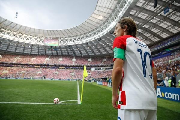 Luka Modric, durante la final de la Copa del Mundo, en la que su selección perdió 4 por 2 ante Francia. AFP.