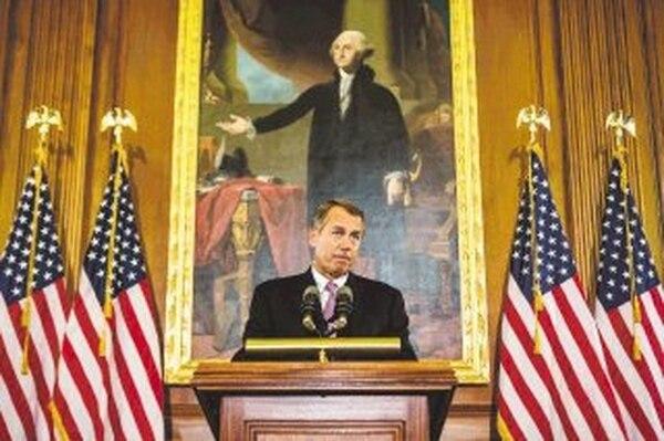El presidente de la Cámara Baja, John Boehner, dejó entreabierta ayer la puerta a una negociación con la Casa Blanca en materia tributaria.   AFP