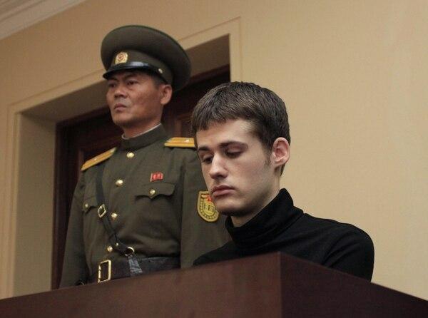 Matthew Miller durante su comparecencia en el juicio de la Suprema Corte, en Pyongyang.