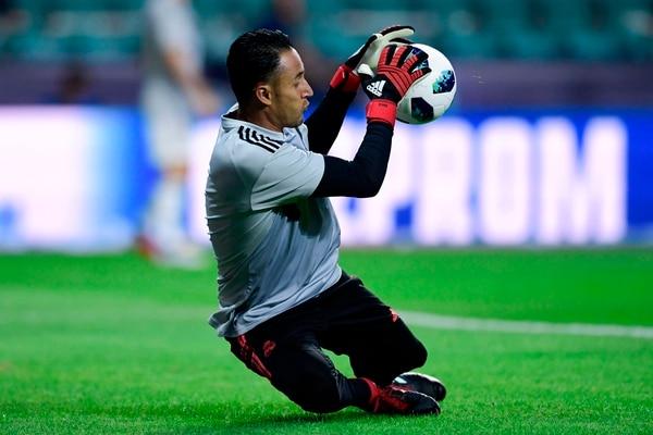 Keylor Navas en un entrenamiento del Real Madrid. Fotografía: AFP