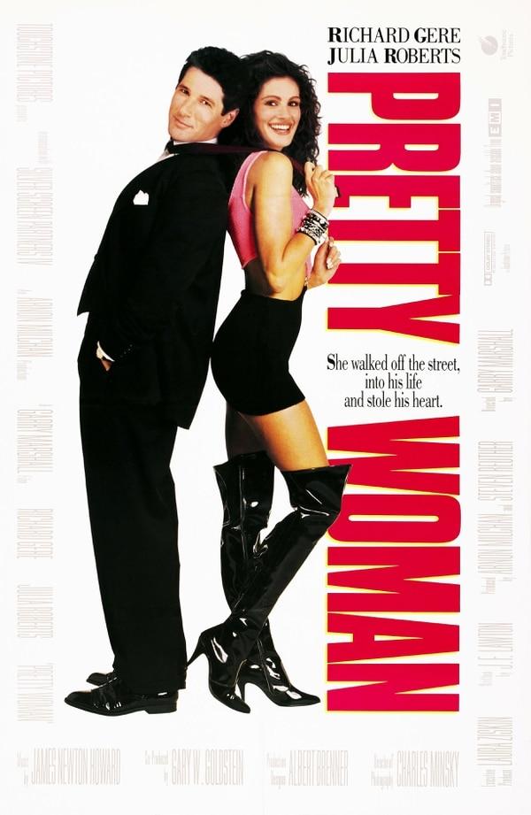 Póster de Mujer bonita (1990). Junto a Richard Gere, Julia Roberts se anotó su primer gran éxito fílmico. Archivo