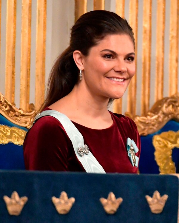 FILE - In this Dec. 20, 2017 file photo Sweden's Crown Princess Victoria looks on during the Swedish Academy's annual meeting at the Old Stock Exchange building in Stockholm, Sweden. Sweden's royal household is staying mum about allegations that Crown Princess Victoria was groped years ago by the man reportedly at the center of a sex-abuse and financial crimes scandal that is tarnishing the academy which awards the Nobel Prize in Literature. Citing three sources, Sweden's Svenska Dagbladet paper reports that Jean-Claude Arnault allegedly pawed the princess 12 years ago by letting his hand slide down her back to her rear. (Jonas Ekstromer / TT via AP, File)