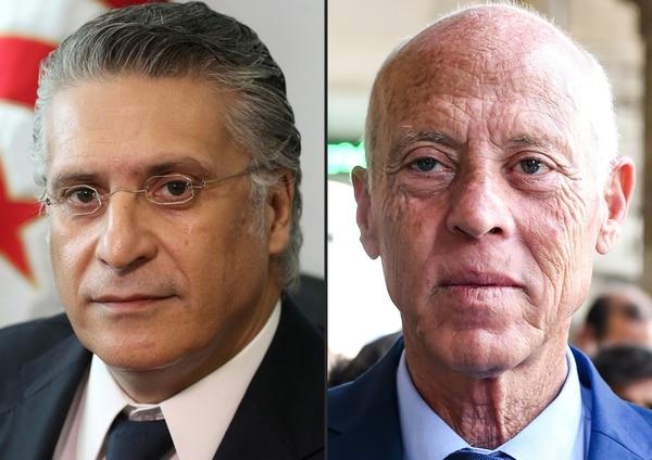 Los aspirantes a la Presidencia de Túnez son Nabil Karoui (izquierda) y Kais Saied.