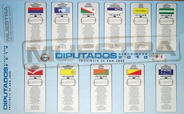 En febrero del 2010, la papeleta de diputados de San José incluía listas de 11 partidos con los nombres de candidatos. | CORTESÍA DEL TSE