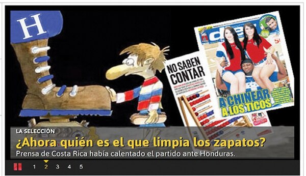 Los medios de comunicación catrachos Diario Diez (izq.) y El Heraldo destacaron la paternidad que tiene Honduras sobre Costa Rica, además le mandaron una respuesta al periódico Al Día . | FOTOS TOMADAS DE INTERNET.