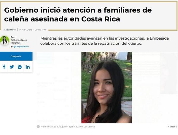 La joven cursaba el primer semestre de fisioterapia en la en la Escuela Nacional del Deporte (Coldeportes) en Cali, Colombia. Foto tomada de la página de RCN radio.