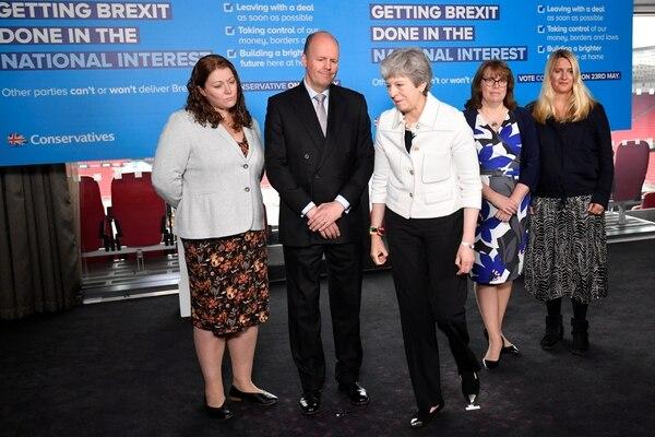 La primera ministra británica, Theresa May, asistió a una actividad de campaña electoral del Parlamento Europeo en Bristol, en el suroeste de Inglaterra, el 17 de mayo del 2019. Foto: AFP