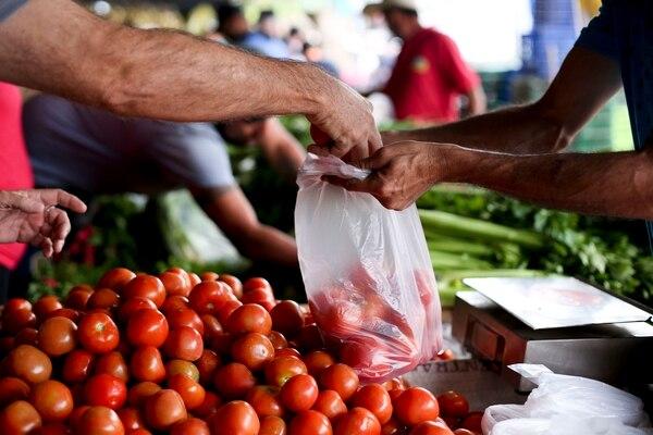 Feria del agricultor en Coronado, frente a la estación de buses. El tomate bajó casi 20% en abril. Fotos: Marcela Bertozzi.