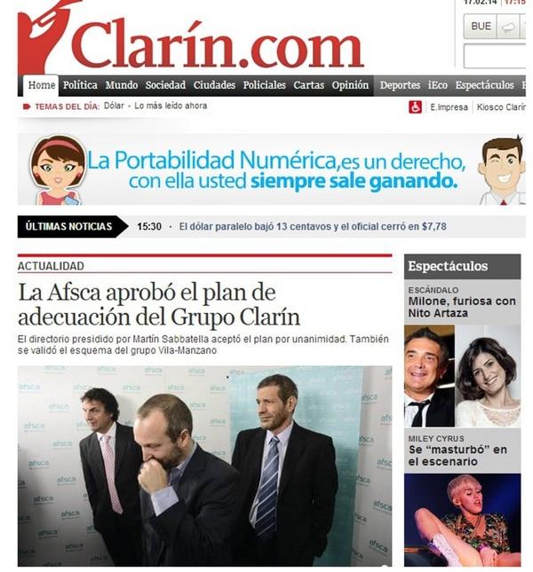 La página web del diario Clarín destacó en su portada el acuerdo logrado con las autoridades del país.