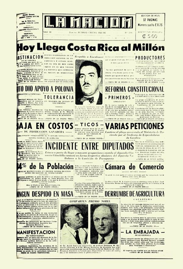 La portada de 'La Nación' del 24 de octubre de 1956 anunciaba la llegada del tico un millón. Foto: ARCHIVO LN