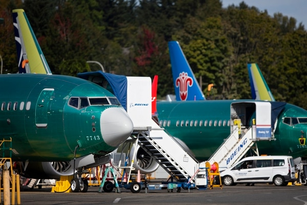 FILE -- Boeing 737 Max airplanes at the municipal airport in Renton, Washington, Oct. 2, 2019. Even as Boeing inches closer to getting the 737 Max back in the air, new problems with the plane are emerging that go beyond the software that played a role in two deadly crashes. (Lindsey Wasson/The New York Times)