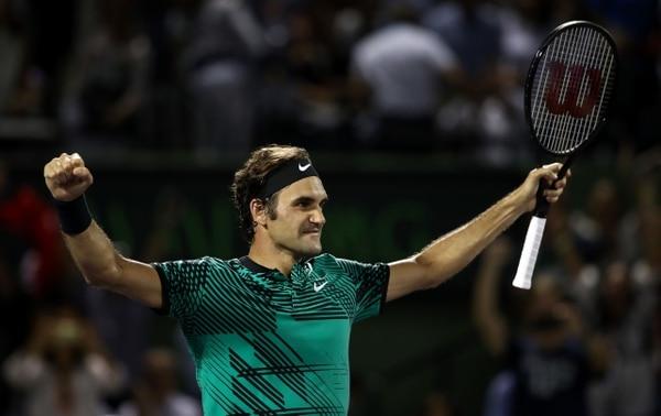 Roger Federer durante su victoria en las semifinales del Abierto de Miami.