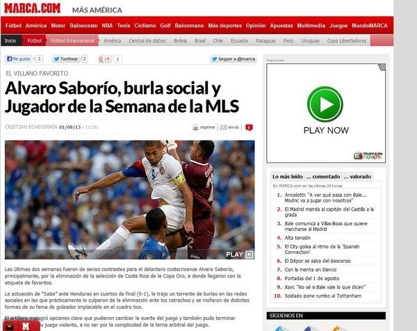 Esta es la nota que publicó hoy jueves el diario español Marca sobre el delantero de Costa Rica, Álvaro Saborío.