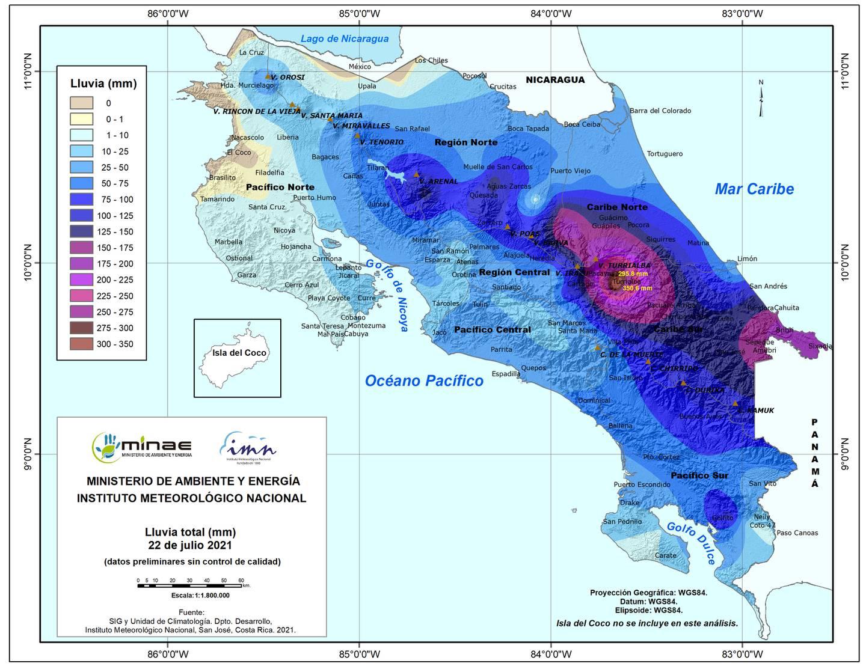 Los colores celeste, azul, morado y café del mapa, muestran en ese orden la cantidad de lluvia que cayó este jueves en nuestro territorio. Turrialba y Talamanca tuvieron lluvias extremas. Imange: IMN.