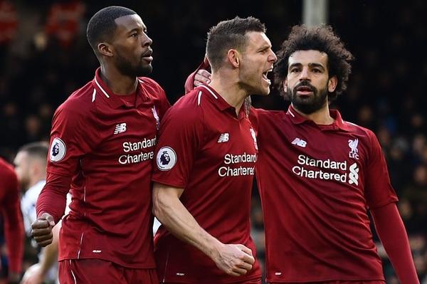 James Milner consiguió el gol de la victoria del Liverpool. Fotografía: AFP.