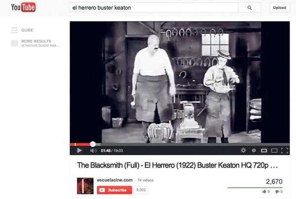 Reconocimiento. Buster Keaton es, para muchos amantes del cine, uno de los mejores comediantes de la historia. El herrero fue lanzado en 1922. YouTube p/LN.