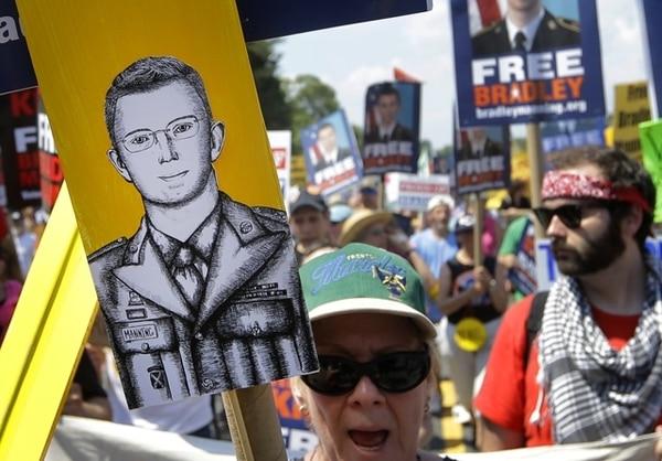 La libertad de Manning es una causa apoyada por diversas ONG. El sábado, un grupo protestó en Maryland. | AP.
