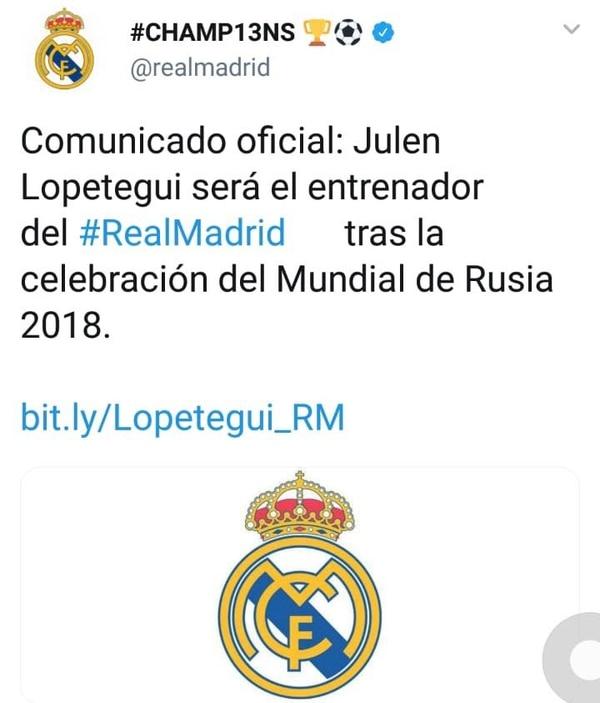 El Real Madrid anunció este martes el nombramiento del español Julen Lopetegui como su nuevo entrenador.