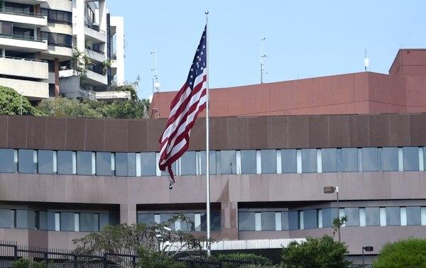 La embajada de los Estados Unidos en Caracas, Venezuela, el 12 de marzo del 2019. Foto: AFP