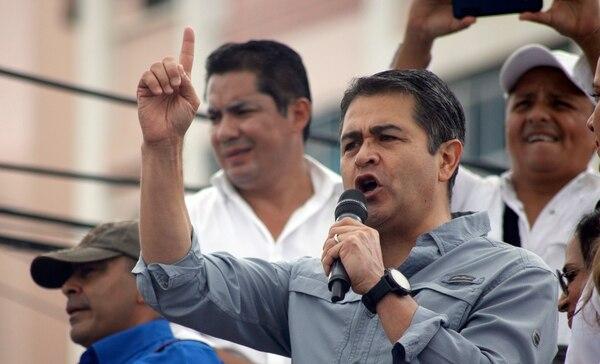 El presidente Juan Orlando Hernández habló durante una actividad pública el 22 de junio del 2019 en Tegucigalpa.