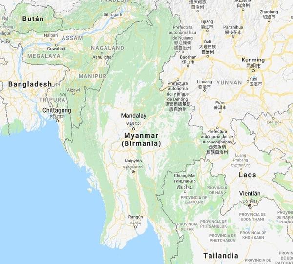 Mapa de Birmania.