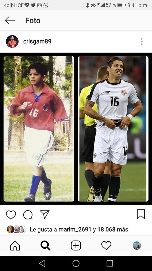 Cristian Gamboa publicó en su cuenta de Instagram su '10 year challenge'. El lateral es uno de los referentes del actual proceso.
