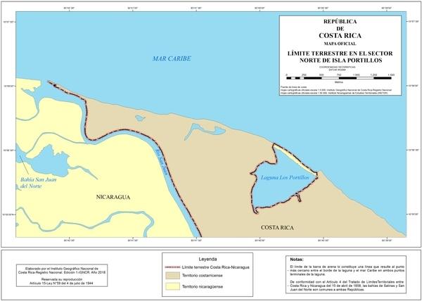 La laguna nicaragüense está en el mapa oficial de Costa Rica identificada como Los Portillos. Foto: Cancillería