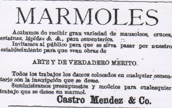 Oferta variada de mármoles anunciada en el periódico La República el 12 de junio de 1892.