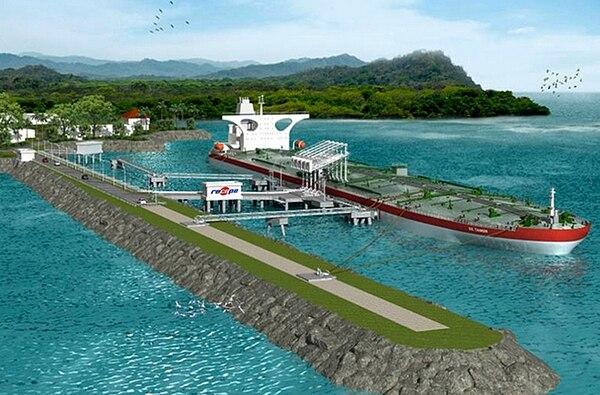 Así será la nueva terminal portuaria en la que los buques petroleros descargarán el combustible que llega al país. | RECOPE PARA LN.