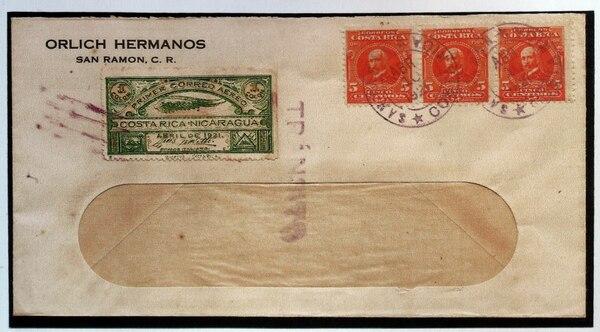 El sobre fue enviado por los hermanos Orlich de San Ramón, hacia Managua y hasta la fecha se mantiene intacto. Foto: Alonso Tenorio.