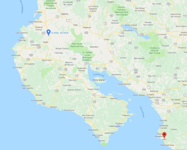 En Filadelfia,(marca azul) ocurrió a las 6 a. m. el accidente entre una moto y un bus y una hora después en Herradura otro motociclista murió a las 7 a. m. Ilustración: Google maps.