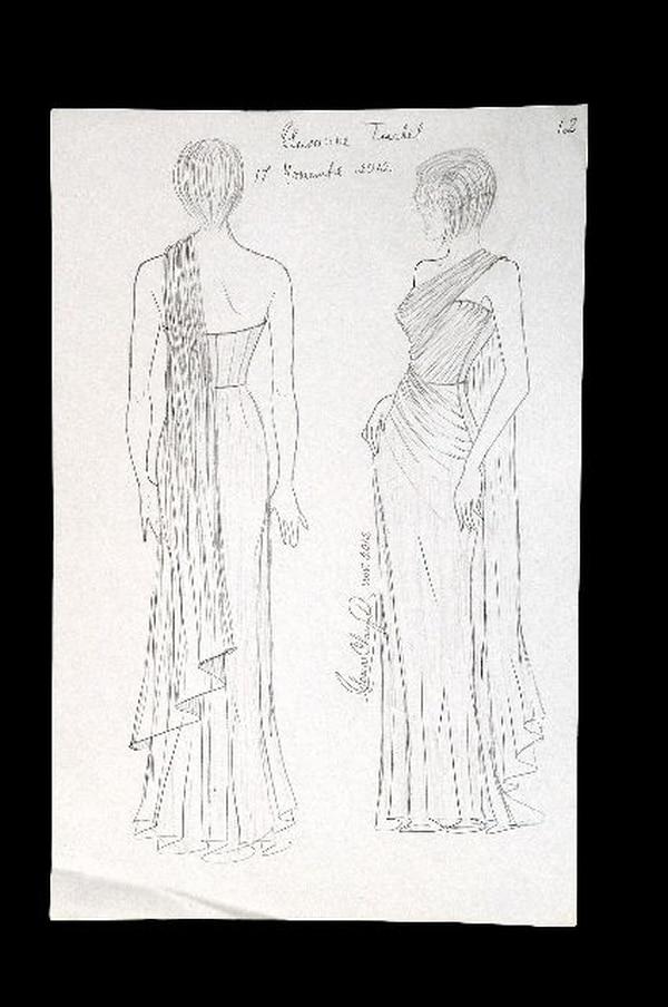 Sonia Chang compartió un boceto del vestido. Jorge CastilloDetalles.