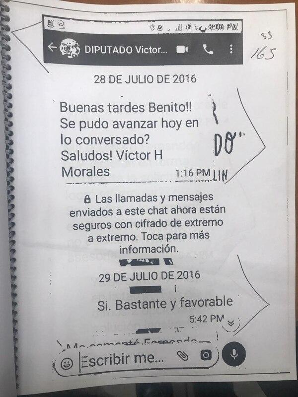 Correspondencia entregada por Benito Coghi a la comisión legislativa.