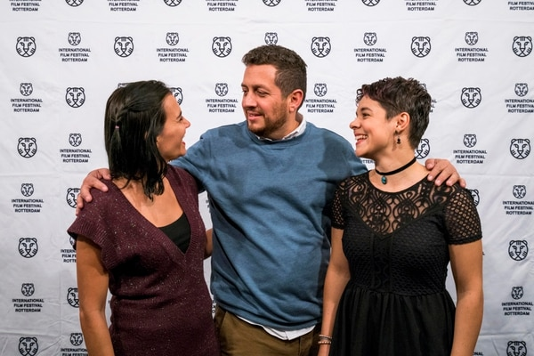 The Netherlands, Rotterdam, 28 January 2017. The 46th International Film Festival Rotterdam - IFFR 2017. Premiere Atrás hay relámpagos, from left; cast Adriana Alvarez Odio, director Julio Hernández Cordón, Natalia Arias. Photo: 31pictures.nl / (c) 2017, www.31pictures.nl