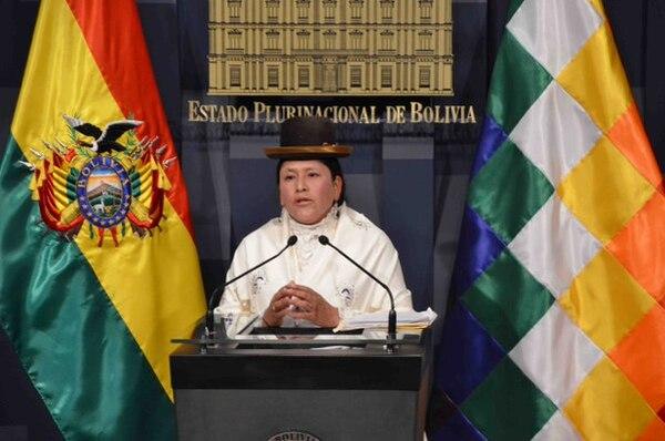 La ministra de Justicia de Bolivia Virginia Velasco realizó el anuncio este miércoles.