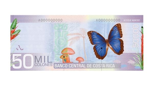 El billete de ¢50.000 empezó a circular en el 2012. Foto: Banco Central de Costa Rica.